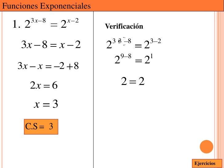 Funciones Exponenciales       3x 8           x 2  1. 2            2         Verificación                              33 8...