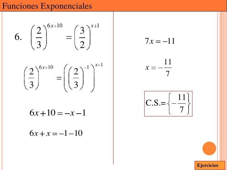 Funciones Exponenciales                6 x 10                 x 1            2                  3   6.                    ...