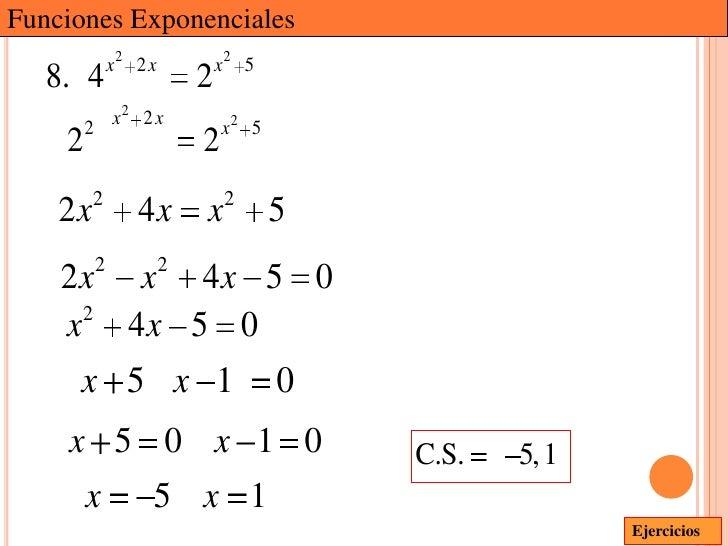 Funciones Exponenciales             x2 2 x           x2 5   8. 4                   2        2 x2 2 x              x2 5    ...