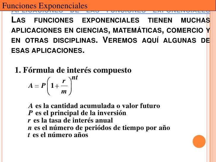 Funciones ExponencialesLAS FUNCIONES EXPONENCIALES  APLICACIONES DE  LAS FUNCIONES EXPONENCIALES TIENEN MUCHAS  APLICACION...