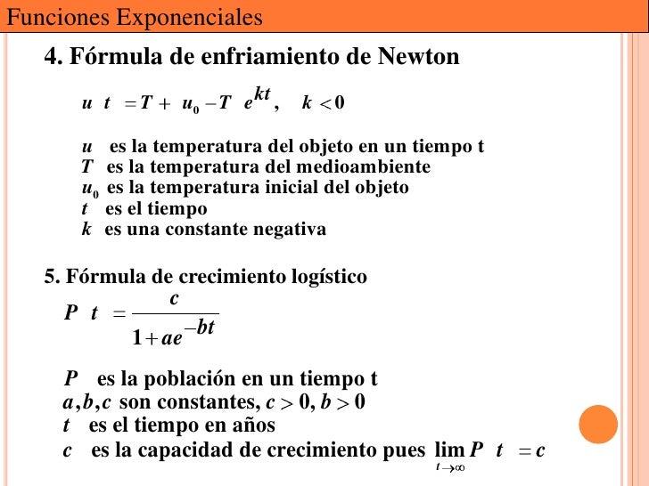 Funciones Exponenciales   4. Fórmula de enfriamiento de Newton       u t   T       u0 T e kt ,   k   0      u es la temper...