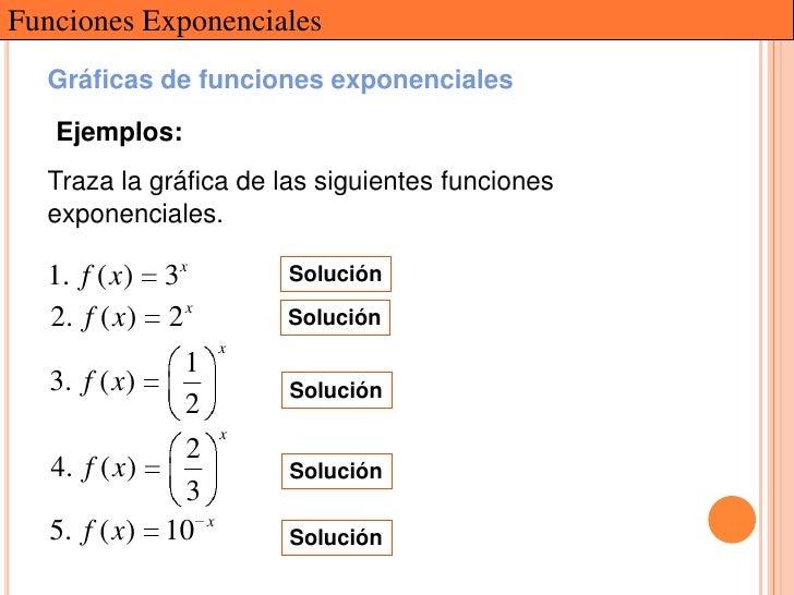 Funciones Exponenciales  Gráficas de funciones exponenciales   Ejemplos:  Traza la gráfica de las siguientes funciones  ex...