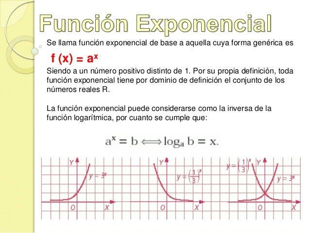 Se llama función exponencial de base a aquella cuya forma genérica es f (x) = axSiendo a un número positivo distinto de 1....