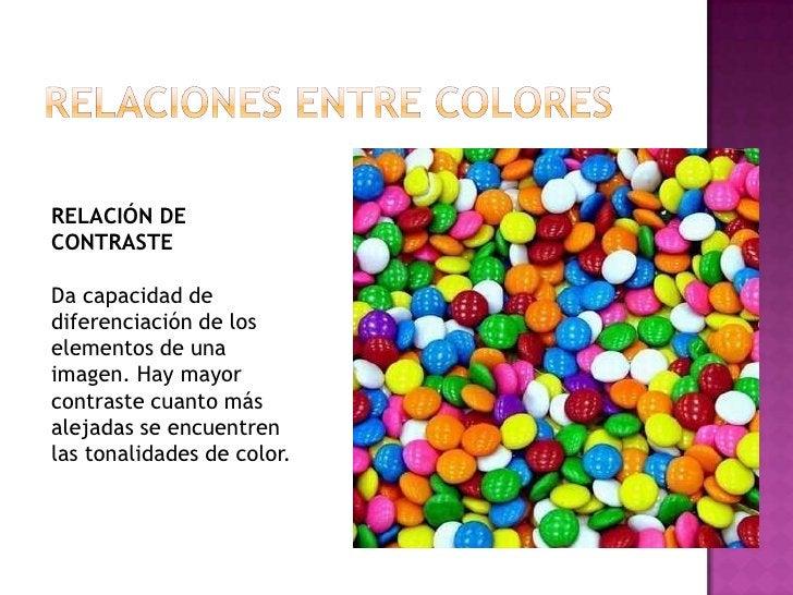 Relaciones entre colores<br />RELACIÓN DE CONTRASTE<br />Da capacidad de diferenciación de los elementos de una imagen. Ha...