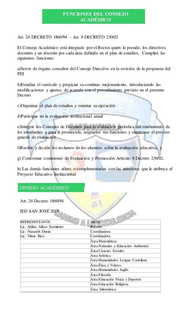 FUNCIONES DEL CONSEJO ACADÉMICO Art. 24 DECRETO 1860/94 – Art. 8 DECRETO 230/02 El Consejo Académico está integrado por el...