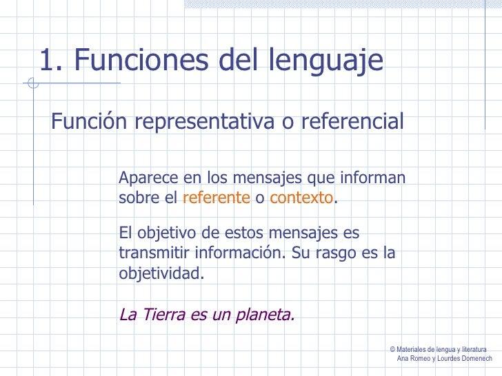 1. Funciones del lenguajeFunción representativa o referencial      Aparece en los mensajes que informan      sobre el refe...