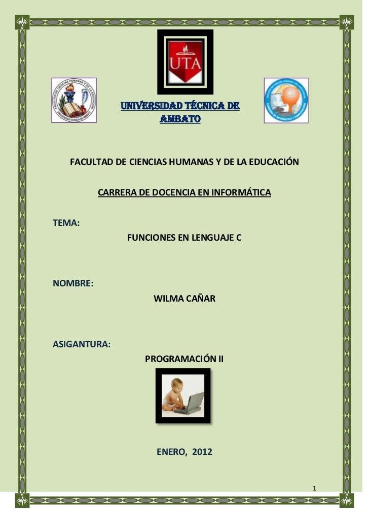 UNIVERSIDAD TÉCNICA DE                     AMBATO   FACULTAD DE CIENCIAS HUMANAS Y DE LA EDUCACIÓN          CARRERA DE DOC...