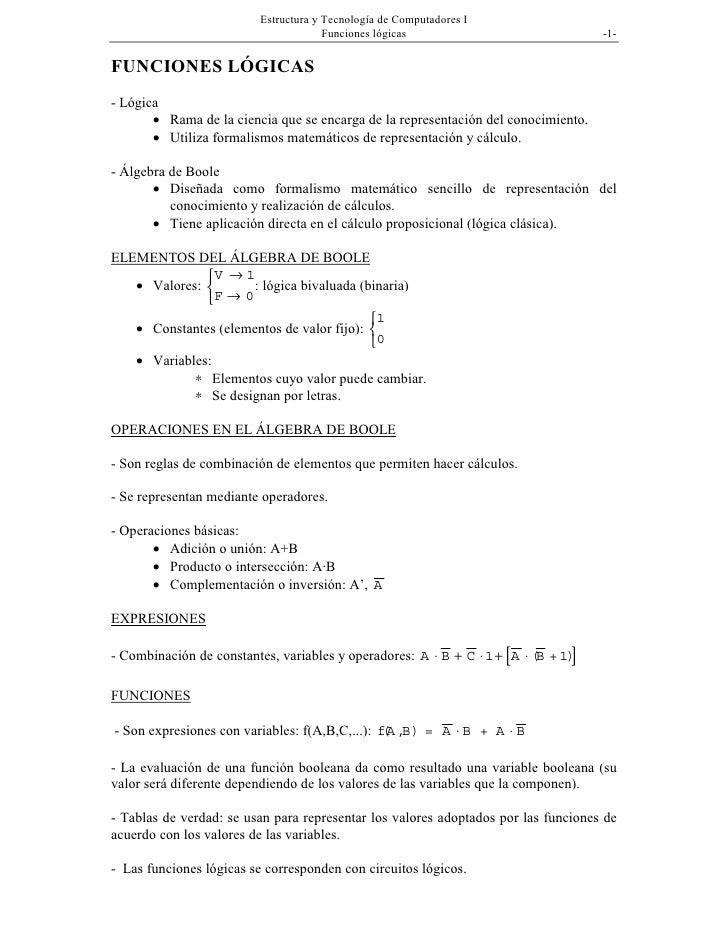 Estructura y Tecnología de Computadores I                                       Funciones lógicas                         ...