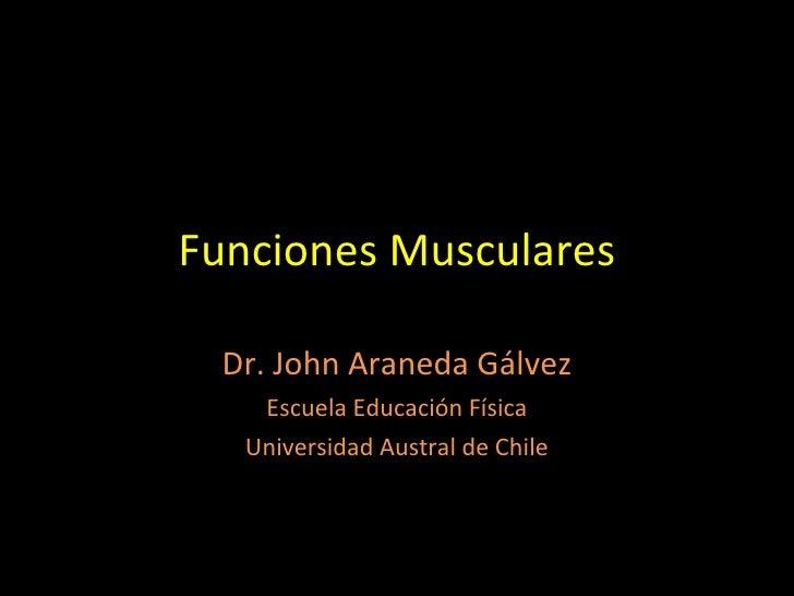 Funciones Musculares Dr. John Araneda Gálvez Escuela Educación Física Universidad Austral de Chile