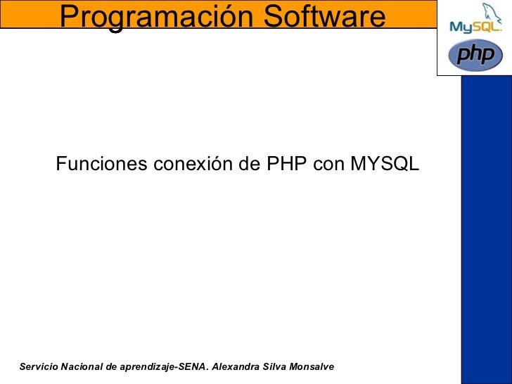 Funciones conexión de PHP con MYSQL