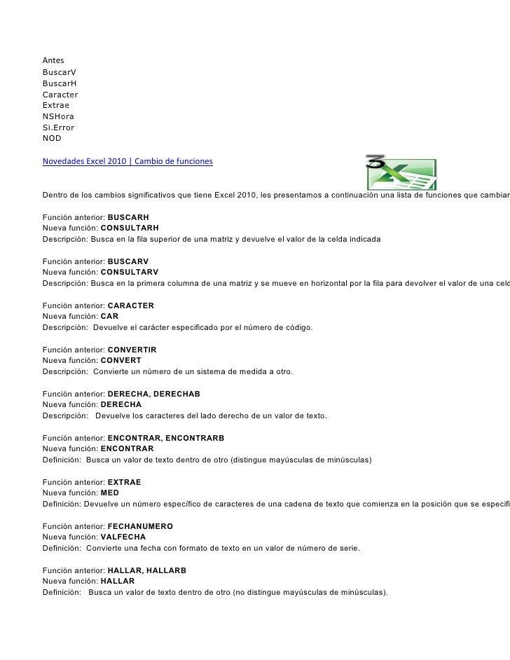 AntesBuscarVBuscarHCaracterExtraeNSHoraSi.ErrorNODNovedades Excel 2010   Cambio de funcionesDentro de los cambios signific...