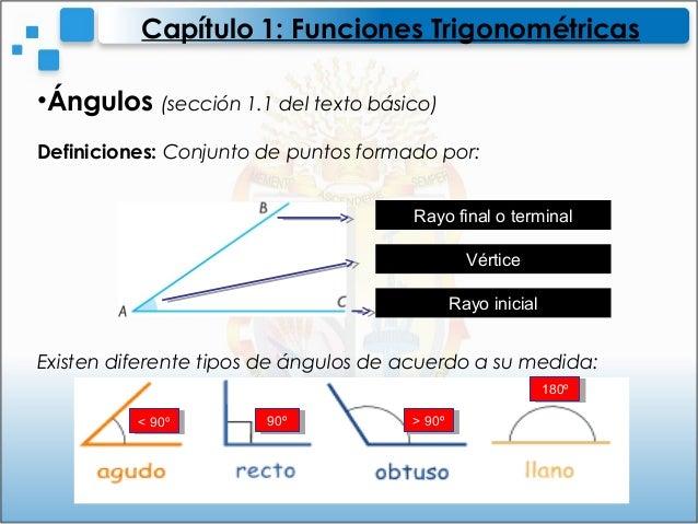 •Ángulos (sección 1.1 del texto básico)Definiciones: Conjunto de puntos formado por:Existen diferente tipos de ángulos de ...