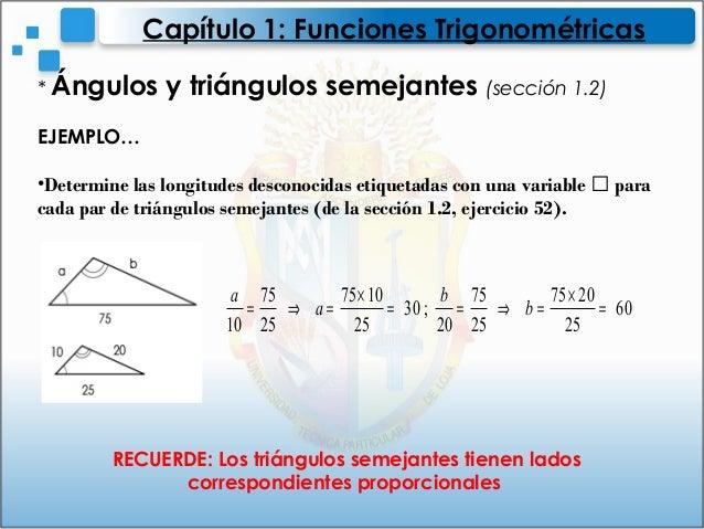 * Ángulos y triángulos semejantes (sección 1.2)EJEMPLO…•Determine las longitudes desconocidas etiquetadas con una variable...