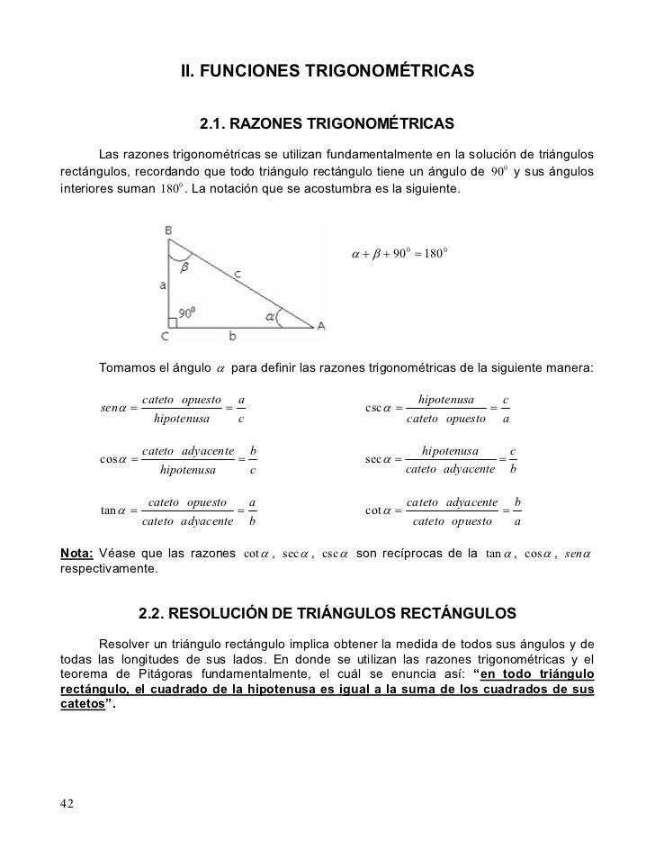 II. FUNCIONES TRIGONOMÉTRICAS                         2.1. RAZONES TRIGONOMÉTRICAS        Las razones trigonométricas se u...