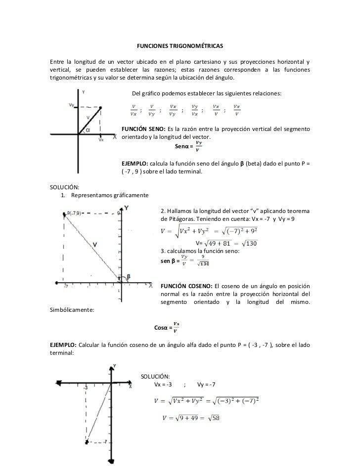FUNCIONES TRIGONOMÉTRICASEntre la longitud de un vector ubicado en el plano cartesiano y sus proyecciones horizontal yvert...