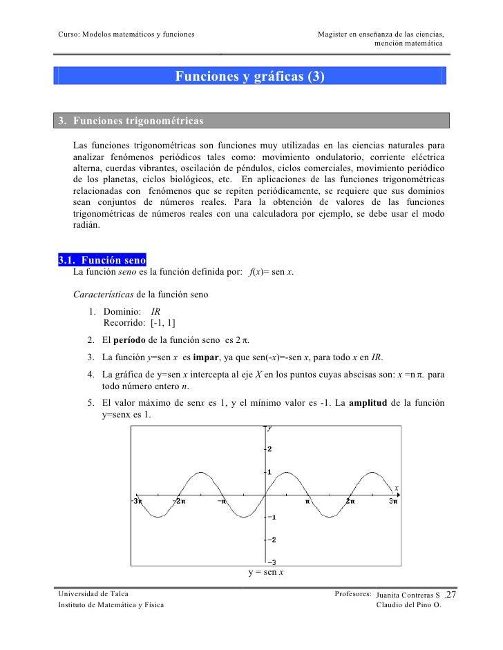 Curso: Modelos matemáticos y funciones                            Magister en enseñanza de las ciencias,                  ...