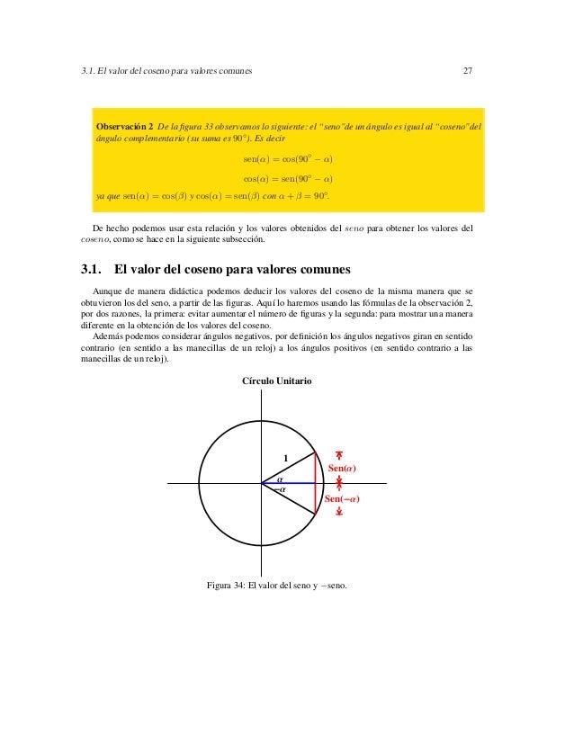 3.1. El valor del coseno para valores comunes                                                         27    Observación 2 ...