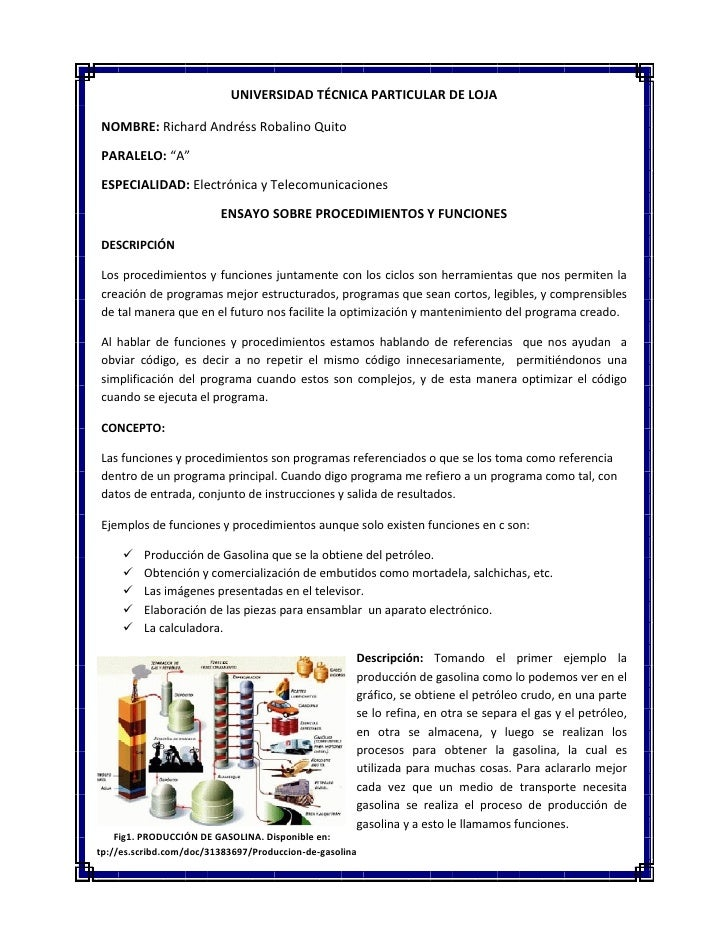 """UNIVERSIDAD TÉCNICA PARTICULAR DE LOJA  NOMBRE: Richard Andréss Robalino Quito  PARALELO: """"A""""  ESPECIALIDAD: Electrónica y..."""