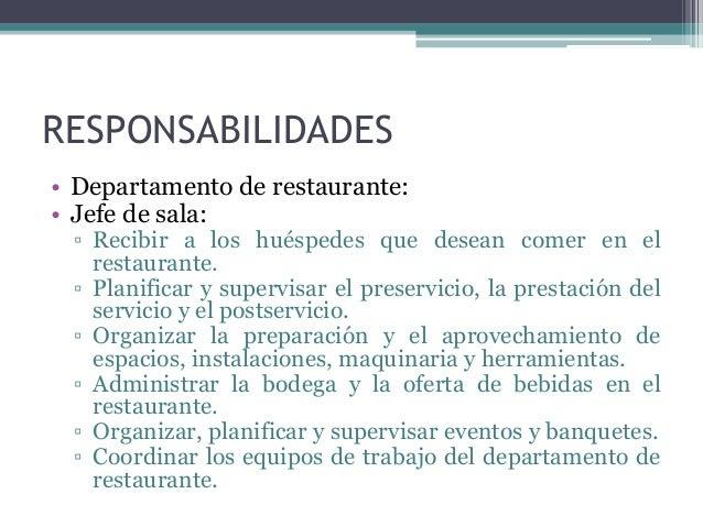 Funciones y tareas de los puestos de trabajo for Manual de funciones de un restaurante pdf