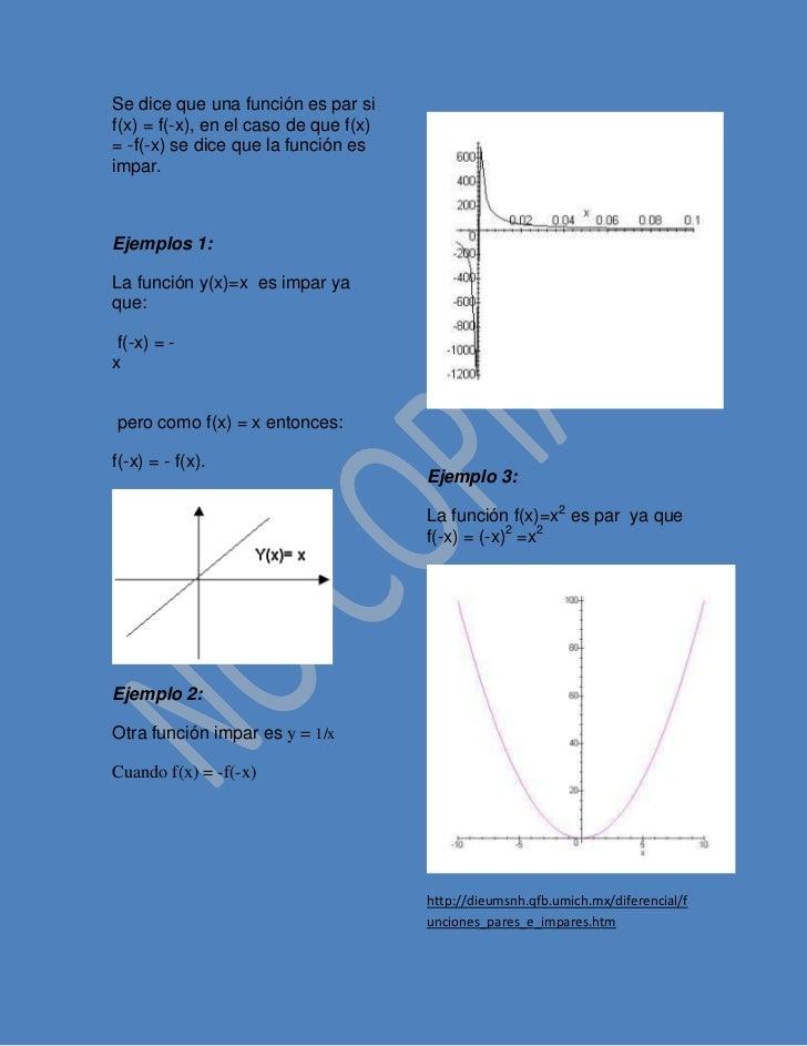 Se dice que una función es par sif(x) = f(-x), en el caso de que f(x)= -f(-x) se dice que la función esimpar.Ejemplos 1:La...