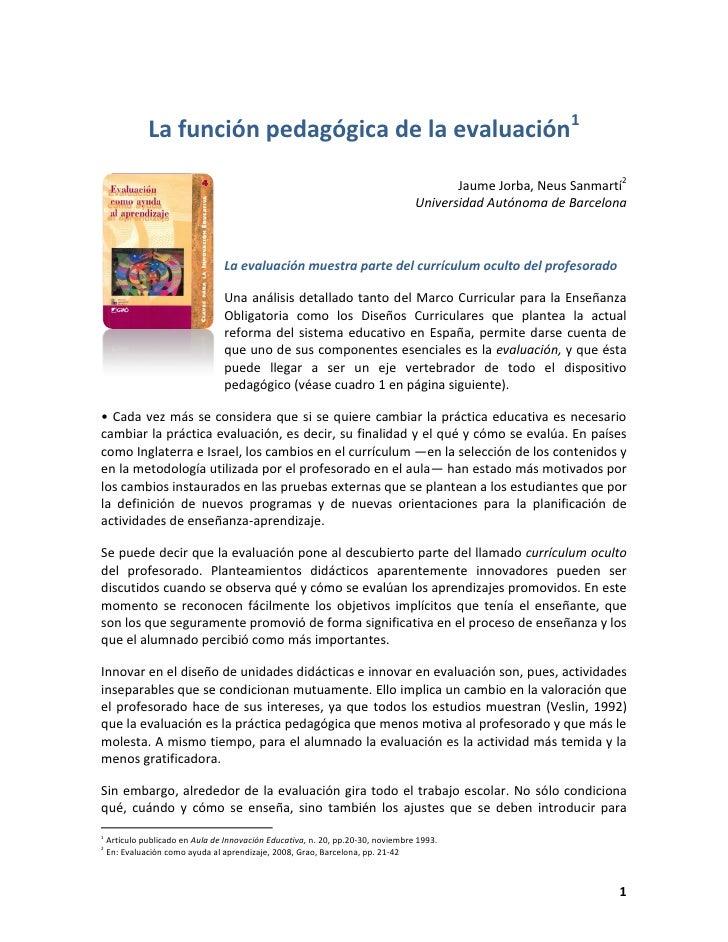 La función pedagógica de la evaluación1                                                                                   ...