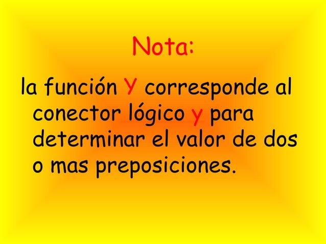 Nota:la función Y corresponde al  conector lógico y para  determinar el valor de dos  o mas preposiciones.