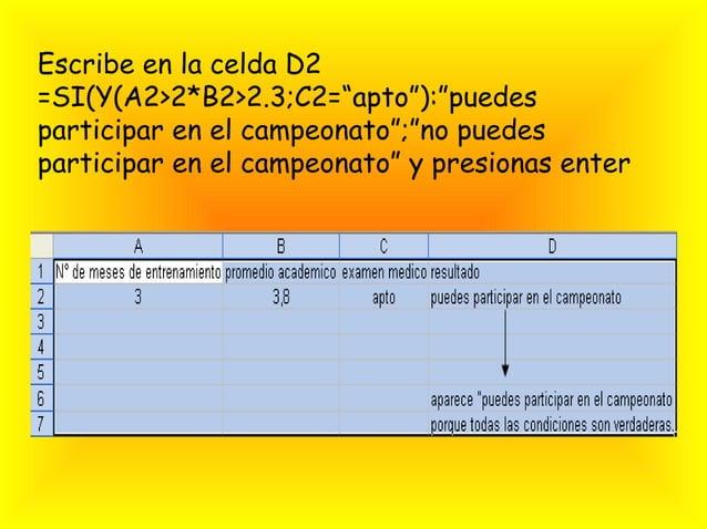 """Escribe en la celda D2=SI(Y(A2>2*B2>2.3;C2=""""apto""""):""""puedesparticipar en el campeonato"""";""""no puedesparticipar en el campeona..."""
