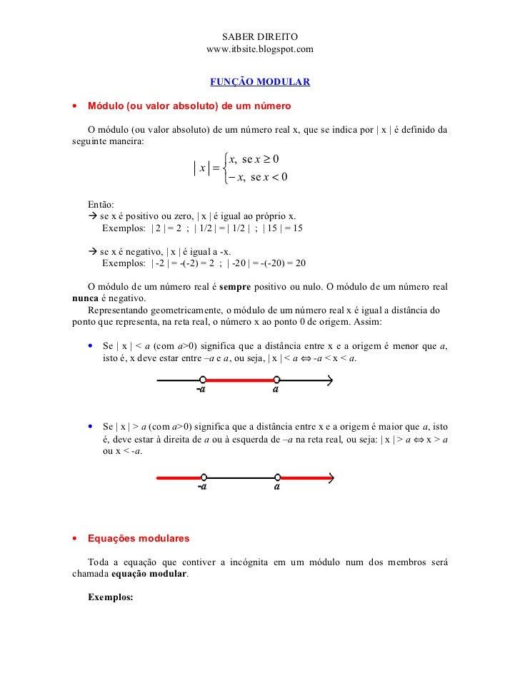 SABER DIREITO                                  www.itbsite.blogspot.com                                   FUNÇÃO MODULAR• ...