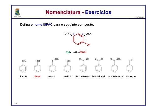 DQOI - UFC Prof. Nunes Nomenclatura - ExercíciosNomenclatura - Exercícios Defina o nome IUPAC para o seguinte composto. 97...
