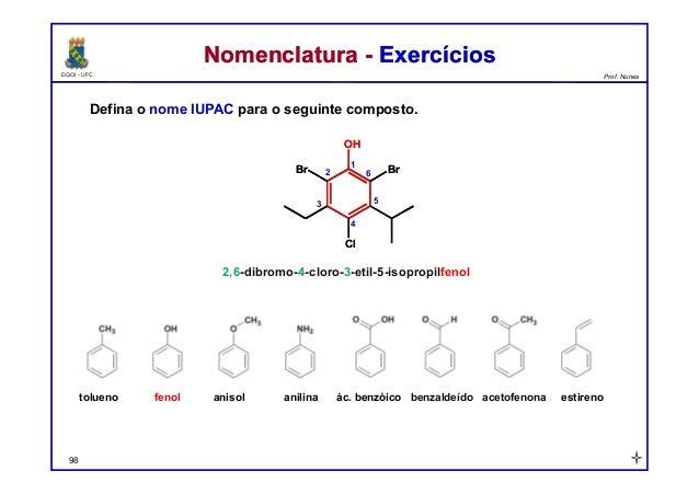 DQOI - UFC Prof. Nunes Nomenclatura - ExercíciosNomenclatura - Exercícios Defina o nome IUPAC para o seguinte composto. 98...