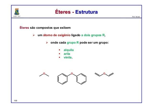 DQOI - UFC Prof. Nunes Éteres - EstruturaÉteres - Estrutura Éteres são compostos que exibem  um átomo de oxigênio ligado ...