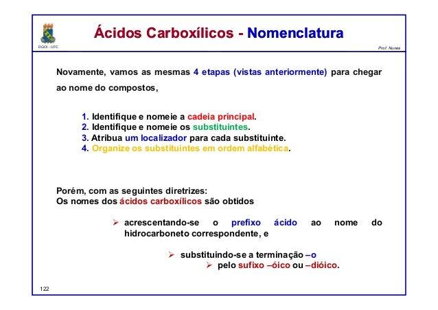 DQOI - UFC Prof. Nunes Ácidos Carboxílicos - NomenclaturaÁcidos Carboxílicos - Nomenclatura Novamente, vamos as mesmas 4 e...