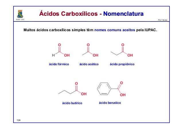 DQOI - UFC Prof. Nunes Ácidos Carboxílicos - NomenclaturaÁcidos Carboxílicos - Nomenclatura Muitos ácidos carboxílicos sim...