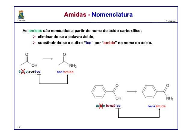 DQOI - UFC Prof. Nunes As amidas são nomeados a partir do nome do ácido carboxílico:  eliminando-se a palavra ácido,  su...