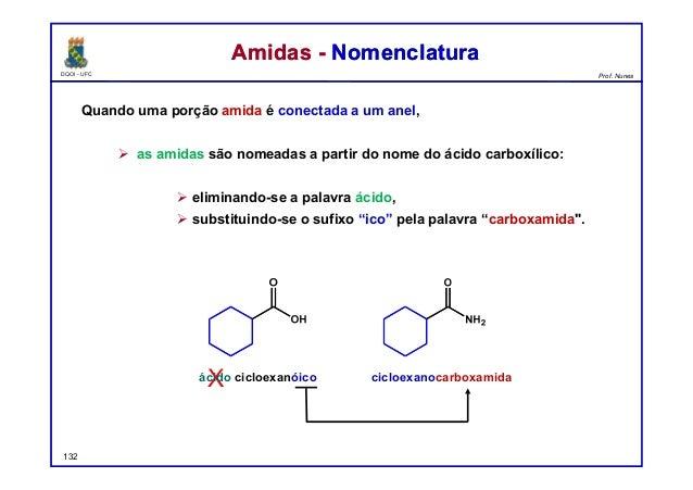 DQOI - UFC Prof. Nunes Quando uma porção amida é conectada a um anel,  as amidas são nomeadas a partir do nome do ácido c...