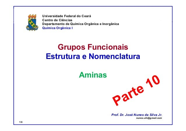 DQOI - UFC Prof. Nunes Grupos Funcionais Estrutura e Nomenclatura Aminas Universidade Federal do Ceará Centro de Ciências ...