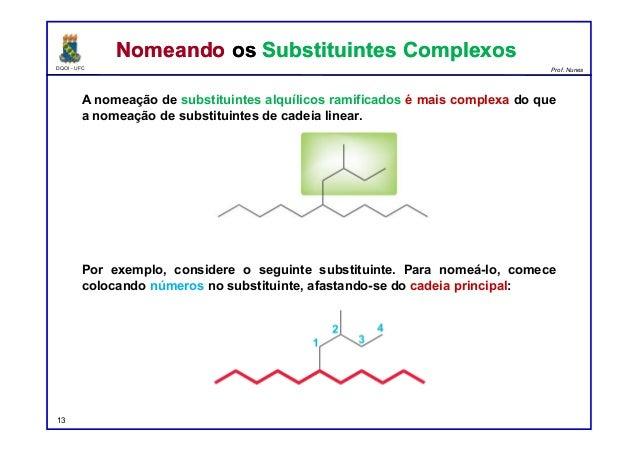 DQOI - UFC Prof. Nunes A nomeação de substituintes alquílicos ramificados é mais complexa do que a nomeação de substituint...