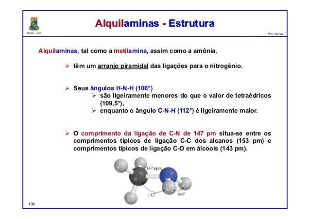 DQOI - UFC Prof. Nunes Alquilaminas, tal como a metilamina, assim como a amônia,  têm um arranjo piramidal das ligações p...