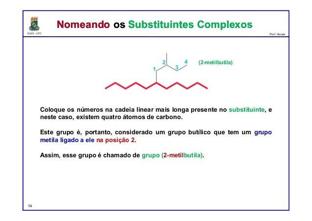 DQOI - UFC Prof. Nunes Coloque os números na cadeia linear mais longa presente no substituinte, e neste caso, existem quat...
