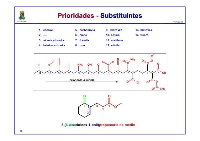 DQOI - UFC Prof. Nunes Prioridades - SubstituintesPrioridades - Substituintes 1. carboxi 2. ---- 3. alcoxicarbonila 4. hal...