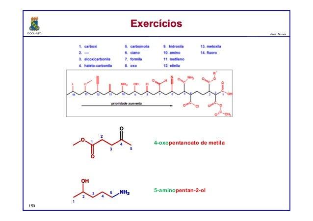 DQOI - UFC Prof. Nunes ExercíciosExercícios 150 4-oxopentanoato de metila 5-aminopentan-2-ol O O O 1 2 3 4 5 1 2 3 4 5