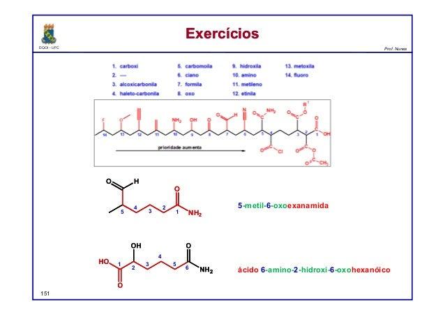 DQOI - UFC Prof. Nunes ExercíciosExercícios 151 5-metil-6-oxoexanamida ácido 6-amino-2-hidroxi-6-oxohexanóico 1 2 3 4 5 1 ...