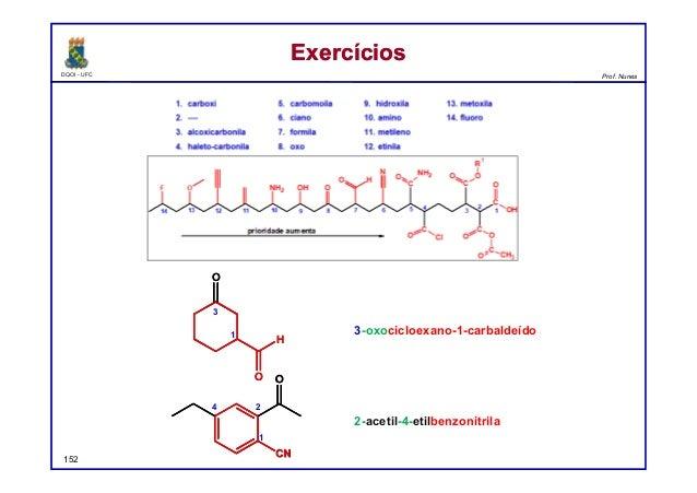 DQOI - UFC Prof. Nunes ExercíciosExercícios 152 3-oxocicloexano-1-carbaldeído 2-acetil-4-etilbenzonitrila O O H O O H1 3 O...