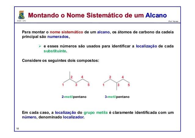 DQOI - UFC Prof. Nunes Para montar o nome sistemático de um alcano, os átomos de carbono da cadeia principal são numerados...