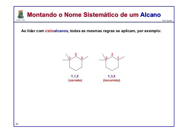 DQOI - UFC Prof. Nunes Ao lidar com cicloalcanos, todas as mesmas regras se aplicam, por exemplo: Montando o Nome Sistemát...