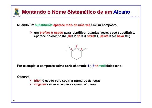DQOI - UFC Prof. Nunes Quando um substituinte aparece mais de uma vez em um composto,  um prefixo é usado para identifica...