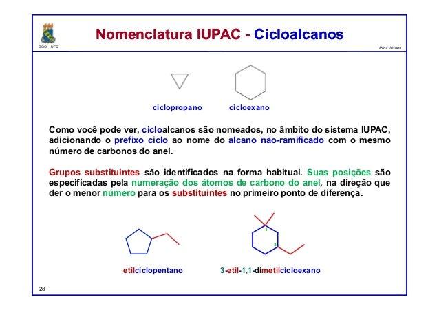 DQOI - UFC Prof. Nunes Como você pode ver, cicloalcanos são nomeados, no âmbito do sistema IUPAC, adicionando o prefixo ci...