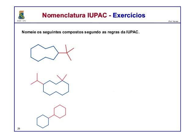 DQOI - UFC Prof. Nunes Nomeie os seguintes compostos segundo as regras da IUPAC. Nomenclatura IUPAC - ExercíciosNomenclatu...