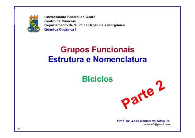 DQOI - UFC Prof. Nunes Grupos Funcionais Estrutura e Nomenclatura Biciclos Universidade Federal do Ceará Centro de Ciência...