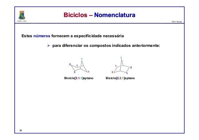 DQOI - UFC Prof. Nunes Estes números fornecem a especificidade necessária  para diferenciar os compostos indicados anteri...
